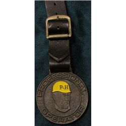 "Brass Watch Fob with leather strap ""Professional Operator"", ""Cranes &/Excavators Unlimited/Harnische"
