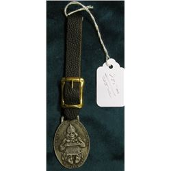 "Pewter Watch Fob with leather strap ""Home of Dr. Pepper/Compliments of/The Dr. Pepper Co./Waco, U.S."