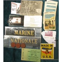 """Made in U.S.A."" Stamp; (2) ""Marine Nationale"" black felt Ribbons; 6-15-191 Colorado Driver's Licens"