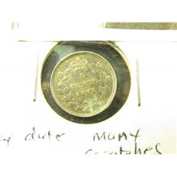 "1875H Key date Canada Five Cent Silver. Damaged at ""H"" with scratches."