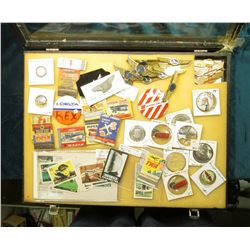 "12"" x 16"" Glass Case full of Aviation Related Items, Wings, Match Book Covers, Pin-Backs, Medals, et"