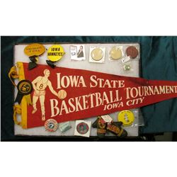 "12"" x 16"" Glass Frame full of Sports Related Items, Includes an Iowa State Basketball Tournament, Io"