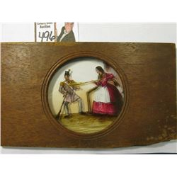 Civil War era Lantern Slide, depicts a woman with a broom shooing a Revolutionary War Soldier away.