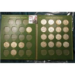 Partial Set of U.S. Franklin Half Dollars in a Whitman Publishing Co. includes 1950D, 52D, S, 53P, 5