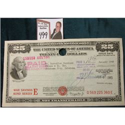 "January 1945 ""$25.00 United States War Savings Bond Series E"", Serial number ""Q 569 225 360 E"", hole"