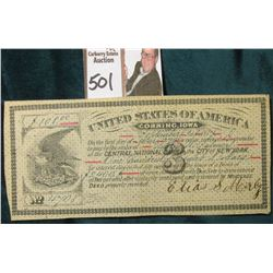 "March 1st, 1879 United States of America Corning, Iowa ""3"" in central design, #2400 for $108.00. 3%"