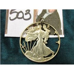 Super Piece of Cut-out Art: 1943 Walking Liberty Half Dollar made into a pendant with design and let