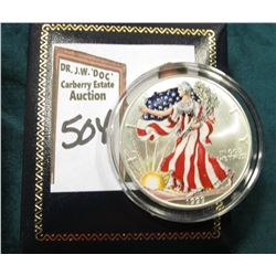 1999 American Eagle Silver Dollar Colorized Obverse Liberty. Very attractive with box.