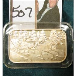 Horse Drawn Sleigh with Riders in this super attractive rectangular .999 Fine Silver One Ounce Bar.