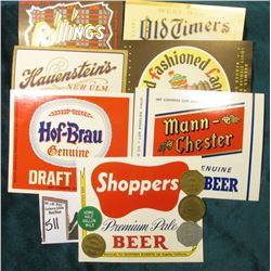 (5) Different Fort Dodge Creamery Co. Dairy Tokens & (7) Different Beer Bottle Labels in mint condit