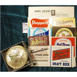 """""""John Deere Plow Company of Moline, Illinois Stationary; (8) Different Beer Bottle Labels in mint co"""