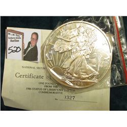 """1986 """"One Pound Proof from The 1986 Statue of Liberty/NY Harbor Commemorative"""" Serial No. 0327. Cont"""