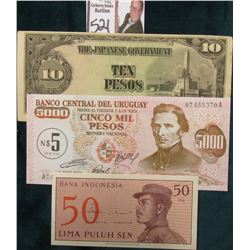 WW II Japanese Occupation of the Philippines Ten Pesos Note; 5000 Pesos Uruguay Note; & 1964 Indones