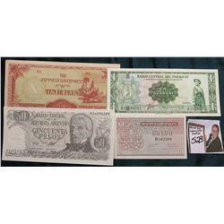 March 25, 1952 Central Bank of Paraguay One Guarani Banknote with security, CU; 1950 Laos One Kip Ba