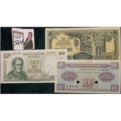 Central Banco Central Bank Chile 5000 Escudos; 4th Series British Armed Forces Ten Shilling Issued b