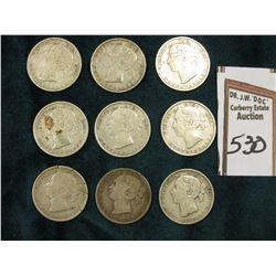 (9) AG to VG Newfoundland, Canada Silver Twenty Cent Pieces: 1888, 1890, (3) 1896, (2) 1899, & (2) 1