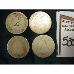 "U.S. Seated Liberty Quarters: 1854, 1861, 1876 (counterstamped ""S S"", & 1877. Fair to AG. All .900 f"