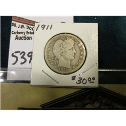 """1911 P Barber Quarter, Good; & Post card """"Oldest Bank Building in America Built for the First Bank o"""