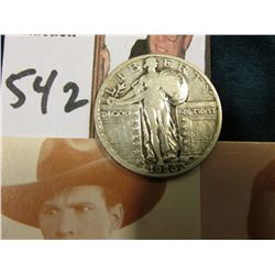 1926 S U.S. Standing Liberty Quarter, VG & an old Postcard depicting famous Western Cowboys: Tom Tyl