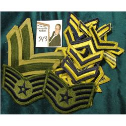 (20) Single Airforce,  (1) Double Stripe PFC Airforce, (2) Airforce Cloth Military Patches.