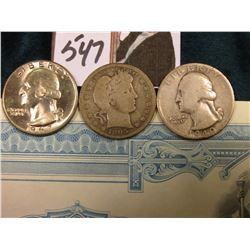 1905 S Barber, 1940 D Silver Washington,Good, 1967 P Washington BU Quarters; & 10 Share Stock Certif