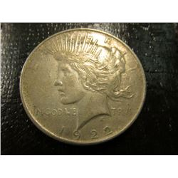"1922 P U.S. Peace Silver Dollar, VF, Original toning & Tobacco Box label in mint condition ""Landmark"