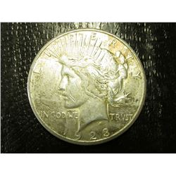 "1923 S U.S. Peace Silver Dollar, VF-EF, Original toning & Tobacco Box label in mint condition ""Pep B"