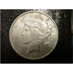 "1922 P U.S. Peace Silver Dollar, VF-EF, Original toning & Tobacco Box label in mint condition ""Indic"