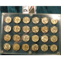 Seitz holder with a Jefferson Nickel Set, all Gem BU: Includes 1938 P, D, S, 39 P, D, S, 40 P, D, S.