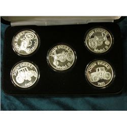 John Deere Series 1 Licensed Product Five-piece set of Proof Silver 1 Ounce .999 Fine Medalions. Inc