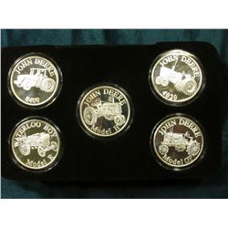 John Deere Series 2 Licensed Product Five-piece set of Proof Silver 1 Ounce .999 Fine Medalions. Inc