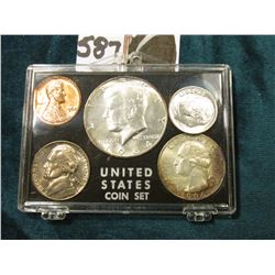 1964 Year Set Cent to Half-dollar in a fancy plastic case with silver lettering. Brilliant Uncircula