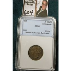 1894 Silver 20C Newfoundland NNC MS60 #2205347  Tone.  Catlogs @ $1200 in MS60