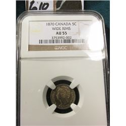 1870{Wide Rims} Silver 5C Canada NGC 55 #3753992-002