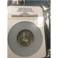 1858 Cyrus W. Field Presentation Medal NGC 61 Large Holder Very Scarce #3753995-004