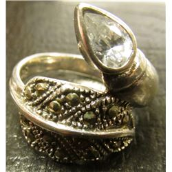 .925 Sterling Silver Marcasite Leaf Ring w/White Tear Drop Stone