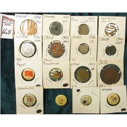 (6) Different foreign Flag Pin-backs advertising various companies; & (10) Foreign Coins dating back