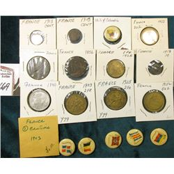 (6) Different foreign Flag Pin-backs advertising Sweet Caporal Cigarettes; & (12) French Coins datin