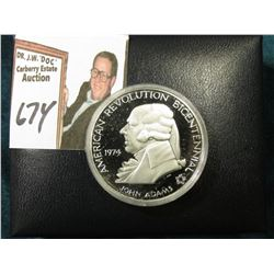 1974 American Revolution Bicentennial Commemorative Proof Sterling Silver Medalion in original felt-