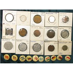 (10) Different foreign Flag Pin-backs advertising various companies; & (15) Foreign Coins dating bac