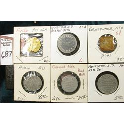 "(6) Different Good For Tokens including: ""Parkston, S.D."", ""Exira, Ia."", ""Osmond, Ne."", ""Huron, S.D."