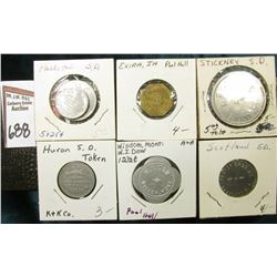 "(6) Different Good For Tokens including: ""Parkston, S.D."", ""Exira, Ia."", ""Stickey, S.D."", ""Huron, S."