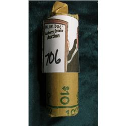 1957 D Gem BU Original paper-wrapped Roll of Washington Quarter-dollars. (40 pieces).