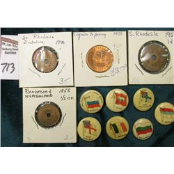 (4) Different Rhodesia Coins, which 'Doc' had valued at over $20.00; & (7) Foreign flag depicting Ad