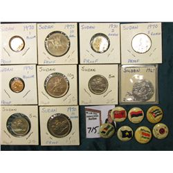 (10) Sudan Coins, which 'Doc' had valued at over $20.00; & (7) Foreign flag depicting Advertsing Pin