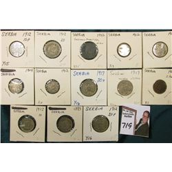 (13) Serbia Coins dating back to 1883, which 'Doc' had valued at over $50.00