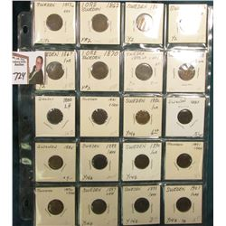 Partial Set of Sweden One Ore: 1858, 62, 65, 66, 67, 70, 72, 78, 80, 81, 82, 83, 85, 88, 90, 91, 96,
