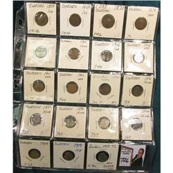 Collection of Sweden: (2) 1858, (2) 1870, 1897, 1911, 13, 18, & (3) 21 One Ore; 1876, 91, 94, 96, (2