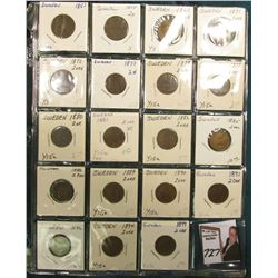 Partial Set of Sweden Two Ore: 1857, 58, 61, 71, 72, 77, 78, 79, 80, 81, 82, 85, 88, 89, 90, 91, 92,