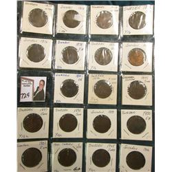 Partial Set of Sweden Five Ore: 1857, 58, 74, 75, 76, 78, 82, 85, 87, 92, 95, 97, 99, 1900, 01, 02,
